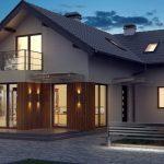 Проект двухэтажного дома с террасой и балконом. Фото