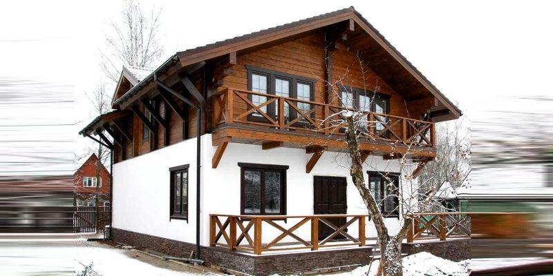 Бесплатный проект комбинированого дома с мансардой из пеноблока и дерева