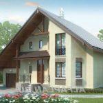 Проект кирпичного дома с эркером и гаражом