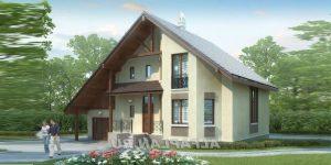 Бесплатный проект кирпичного дома с эркером и гаражом